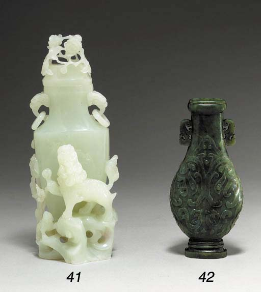 A Small White Jade Vase and Co
