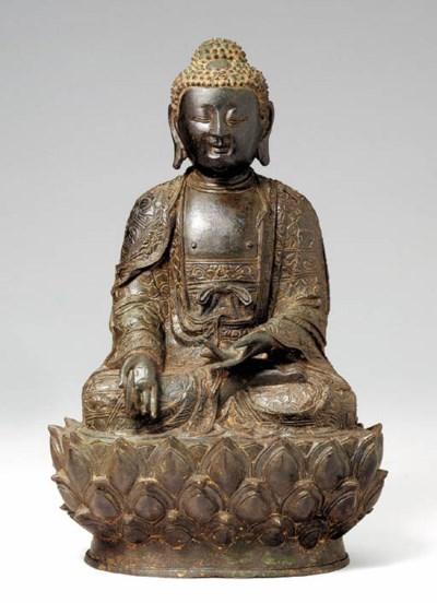 An Unusual Bronze Figure of Bu