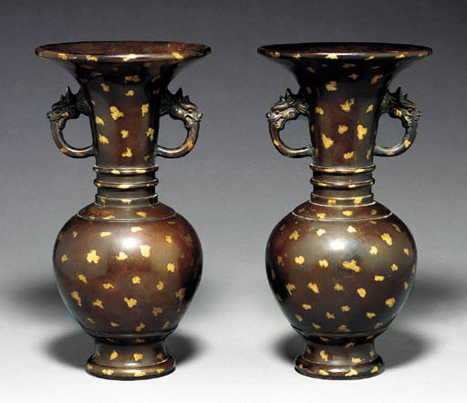 A Pair of Gilt-Splashed Bronze