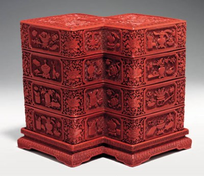A Rare Carved Red Lacquer Loze