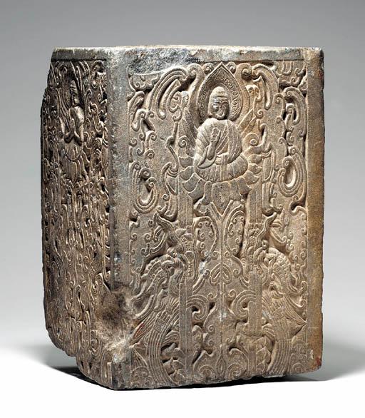 A Rare Carved Grey Stone Buddh