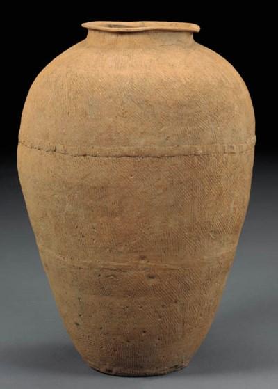 A Massive Red Pottery Ovoid Ja