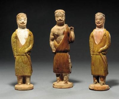 Three Amber-Glazed Red Pottery