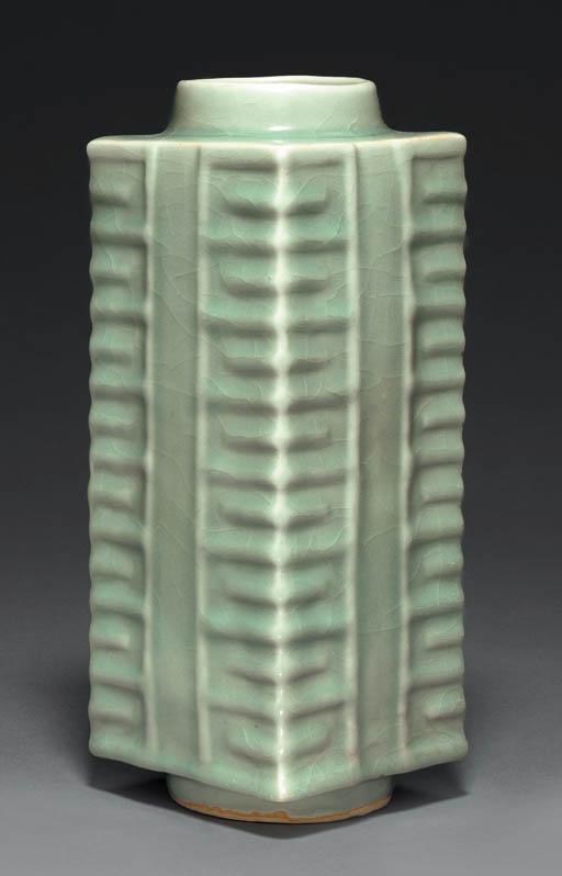 A Rare Longquan Celadon Cong-F