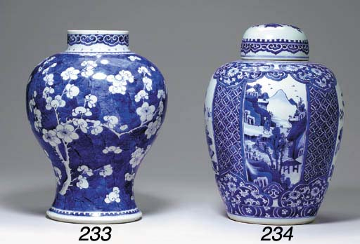 A Blue and White Ovoid Jar and