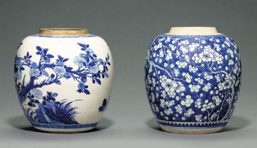 Two Blue and White Ovoid Jars