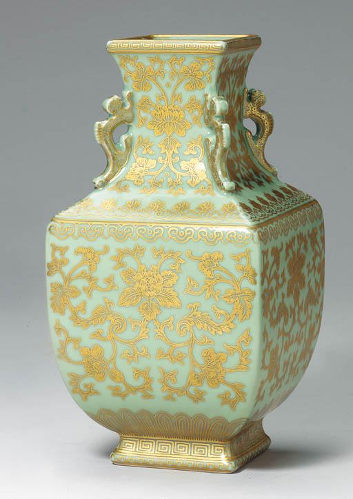 A Rare Gilt-Decorated Celadon-