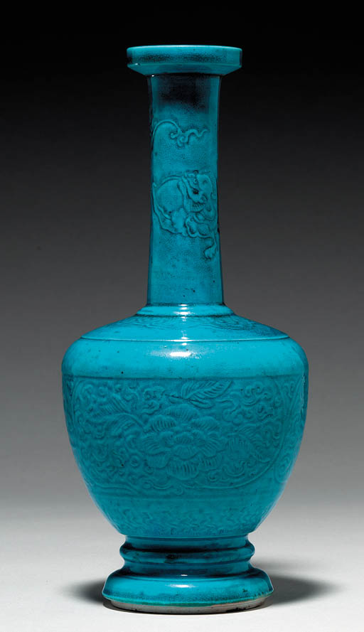 A Rare Turquoise-Glazed Carved