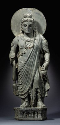 A Gray Schist Figure of Bodhis