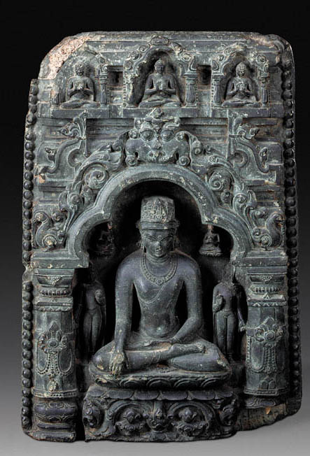 A Black Stone Stele of Buddha