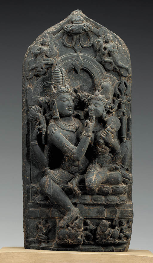 A Black Stone Stele of Shiva a