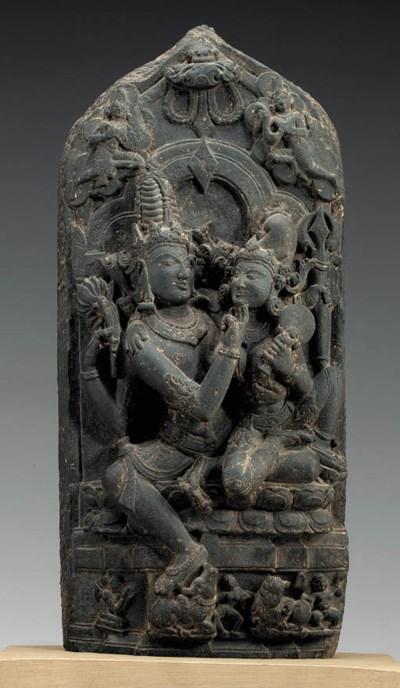A Black Stone Stele of Shiva a
