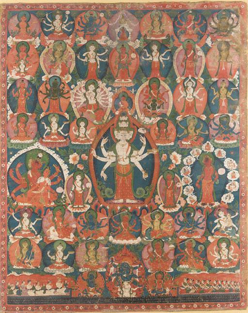 A Paubha of Eleven-Headed Aval