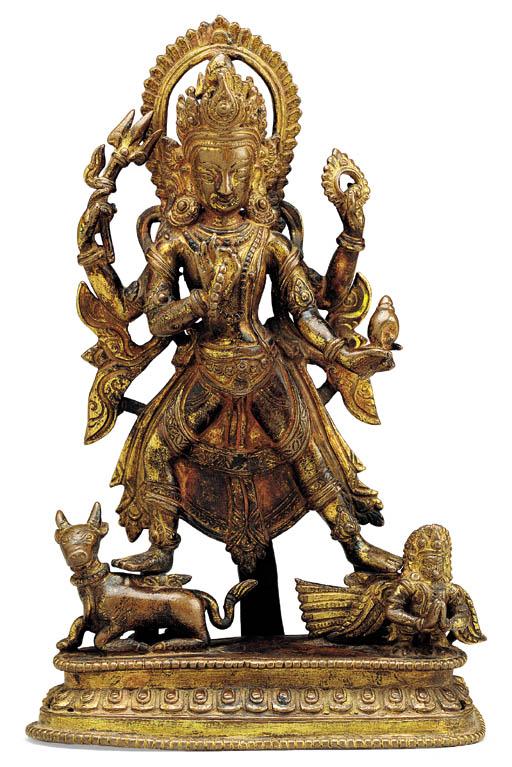 A Gilt Bronze Figure of Hariha