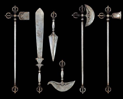 A Set of Six Steel Ritual Impl