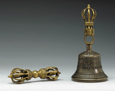 A Parcel Gilt and Bronze Vajra