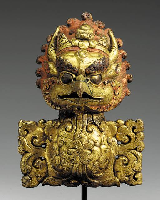 A Gilt Bronze Garuda Head Finial