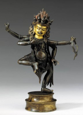 A Bronze Figure of a Dharmapal