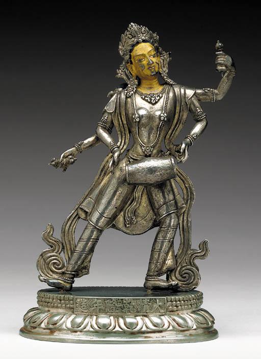 An Rare Silver Figure of a Dakini