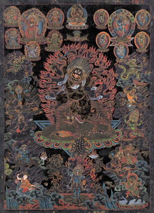 A Black Ground Thangka of Haya