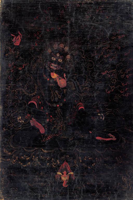 A Black Ground Thangka of a Yama Dharmaraja
