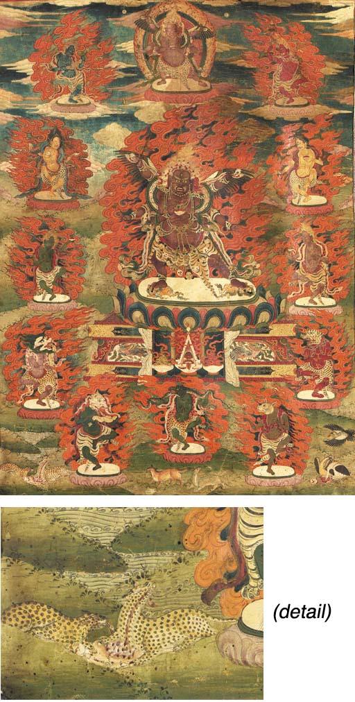 A Thangka of Brown Heruka with