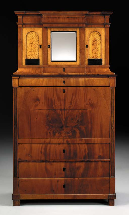 AN AUSTRIAN BIEDERMEIER PART-EBONIZED MAHOGANY, AMBOYNA AND STAINED MAPLE SECRETAIRE A ABATTANT
