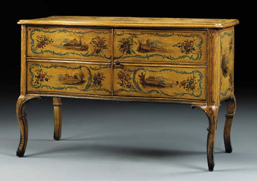 A NORTH ITALIAN ROCOCO POLYCHROME-PAINTED COMMODE