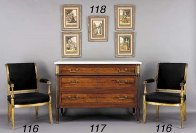 A PAIR OF DIRECTOIRE GILTWOOD