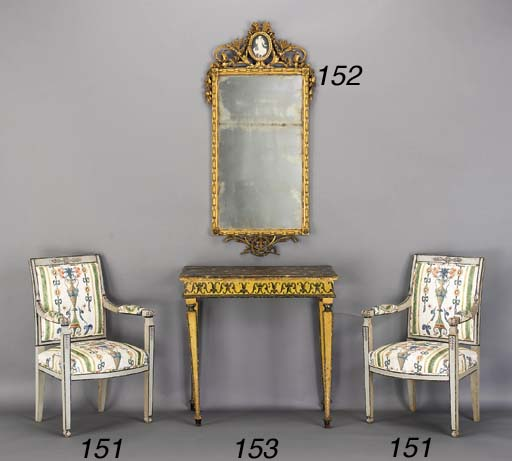 A PAIR OF DIRECTOIRE GREY-PAINTED FAUTEUILS