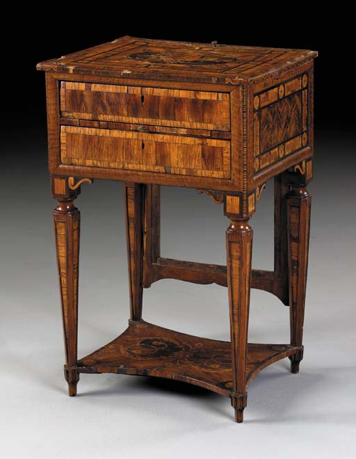 AN ITALIAN NEOCLASSIC WALNUT, FRUITWOOD AND MARQUETRY WRITING TABLE
