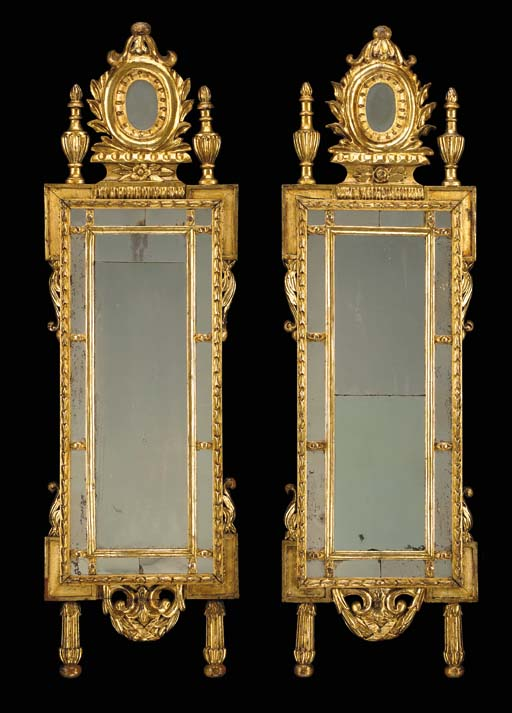 A PAIR OF NORTH ITALIAN NEOCLASSIC GILT-VARNISHED SILVERED (MECCA) MIRRORS