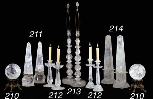 TWO PAIRS OF ROCK CRYSTAL CAND