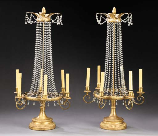 A PAIR OF RESTAURATION STYLE GILTWOOD, GILT-METAL, COMPOSITION AND CUT-GLASS SIX-LIGHT CANDELABRA