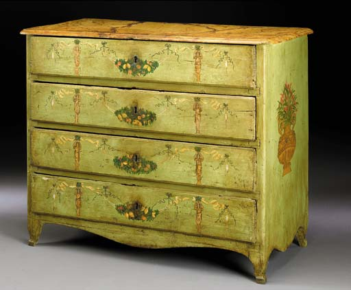 AN ITALIAN NEOCLASSIC GREEN AND POLYCHROME-DECORATED COMMODE