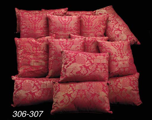A GROUP OF SEVEN SILK DAMASK C