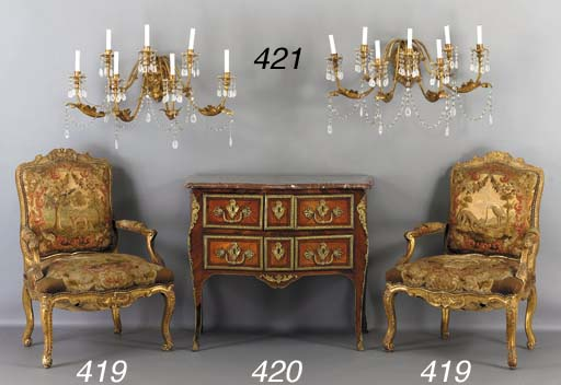 A PAIR OF ITALIAN GILTWOOD AND CUT-GLASS SEVEN-BRANCH WALL-LIGHTS