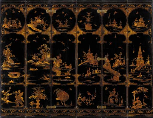A CONTINENTAL BRASS-MOUNTED BLACK, GILT AND SCARLET LACQUER SIX-PANEL SCREEN