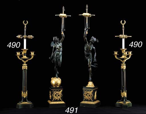 A PAIR OF FRENCH PATINATED-BRONZE AND ORMOLU FIGURAL LAMPS