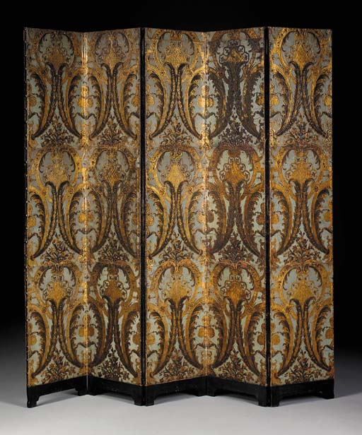 A SPANISH ROCOCO PARCEL-GILT AND BLUE-PAINTED FIVE-PANEL EMBOSSED LEATHER SCREEN