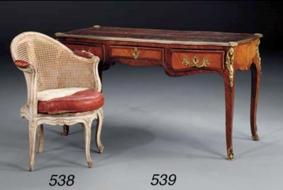 A LOUIS XV WHITE-PAINTED CANED