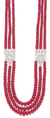 A RUBY BEAD AND DIAMOND NECKLA