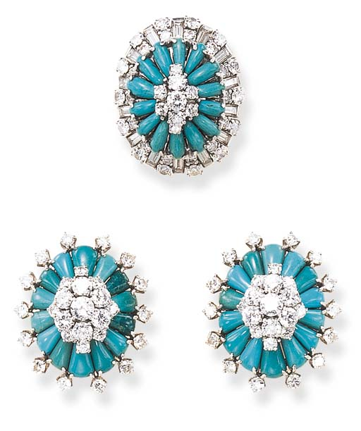 A GROUP OF TURQUOISE AND DIAMO