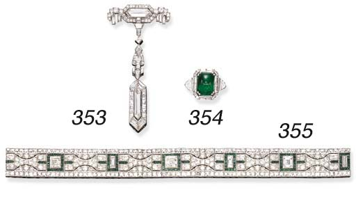 A FINE ART DECO EMERALD AND DI