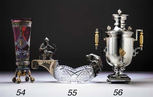 A SILVER-MOUNTED CUT-GLASS KOV