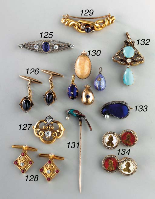 A GROUP OF FOUR JEWELLED, GOLD