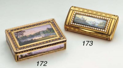 A French gold and enamel snuff