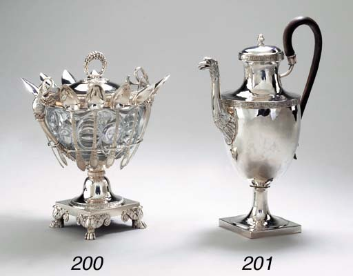 A FRENCH SILVER AND GLASS SUGA