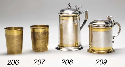 A Russian parcel-gilt silver t