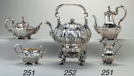 A GEORGE IV SILVER KETTLE ON S